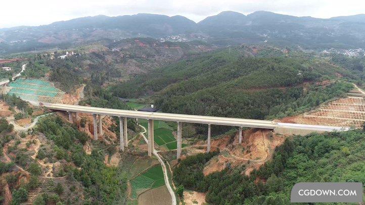 4K超清航拍山川连接大桥实拍素材
