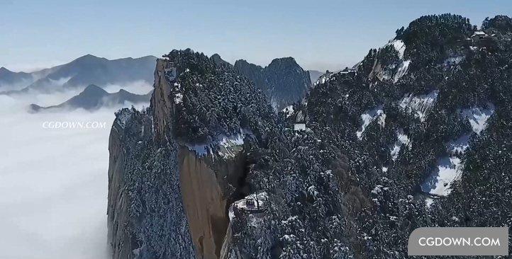 高清航拍西岳华山索道天高云淡山峰实拍视频素材