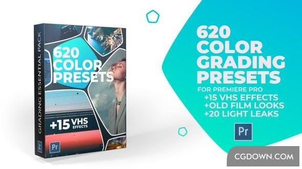 电影,老电影,PR,调色,PR模板预设620种电影色彩15总vhs视频效果老电影特效视频素材
