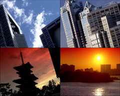 高楼,大厦,时间流逝,白云,房地产,现代建筑,蓝天,夕阳,日落,太阳视频素材影视模板