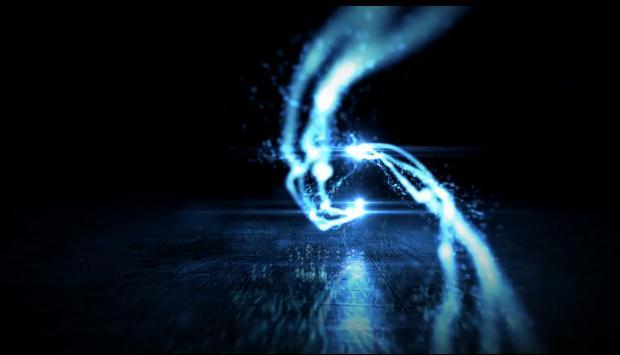 震撼粒子辉光聚成标志,logo视频素材