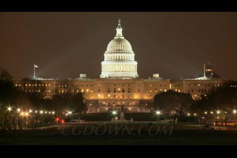 夜晚的美国白宫景色,车流,白宫