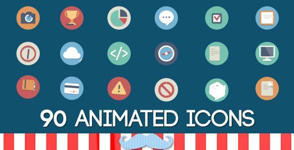 90个流行动画图形图标,动画,图标