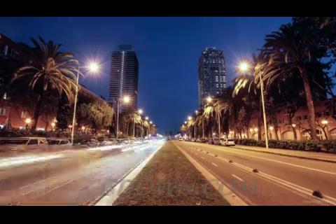 夜晚中的西班牙巴塞罗那车流,西班牙,巴塞罗那,城市,夜景