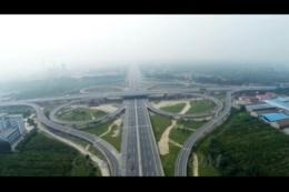立交桥,潍坊,高速,海港路,航拍,荣乌,视频素材