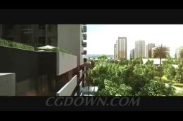 高楼建筑绿色城市现代3D漫游,漫游