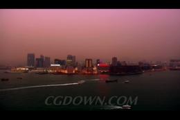 中国沿海城市海边夜景
