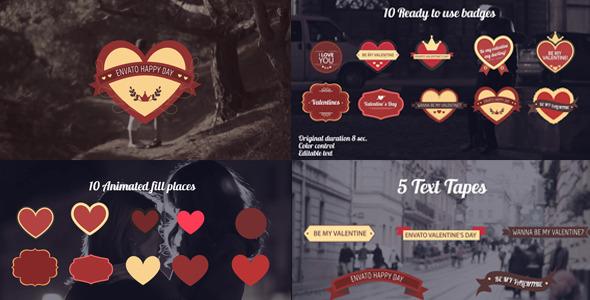 一组动态展示爱情浪漫情人节元素标题,情人节,字幕版式