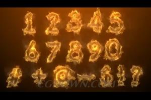 多种火焰蓝火液体倒计时动态数字特效