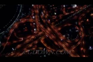 车流,立交桥,城市,航拍,夜晚,视频素材