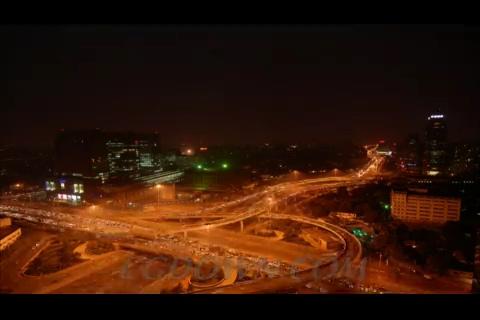 夜晚城市快速车流,车流