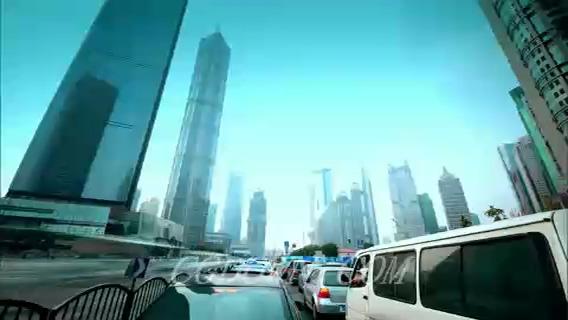 第一视角上海城市街景快速拍摄,上海