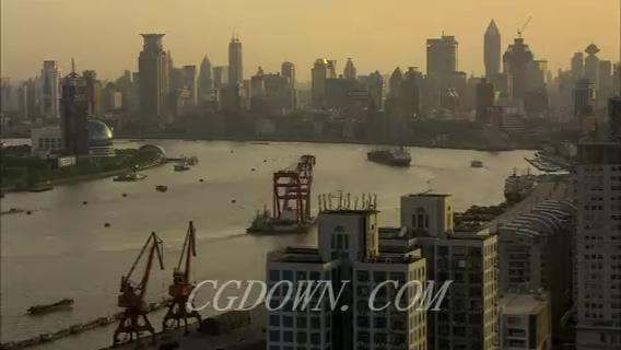 上海外滩黄浦江城市延时拍摄,上海