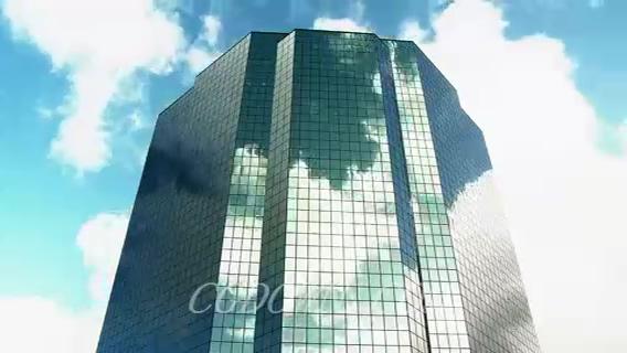 大楼镜面云彩流动,大楼