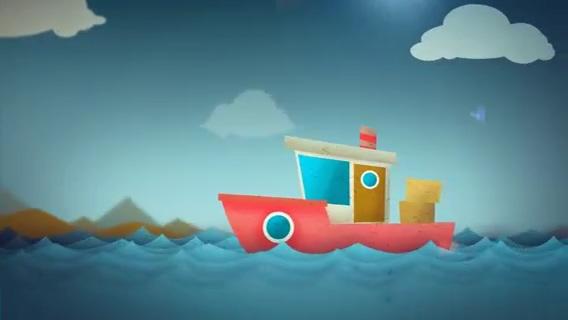 卡通蓝天海洋小船logo演绎,卡通,logo视频素材影视模板