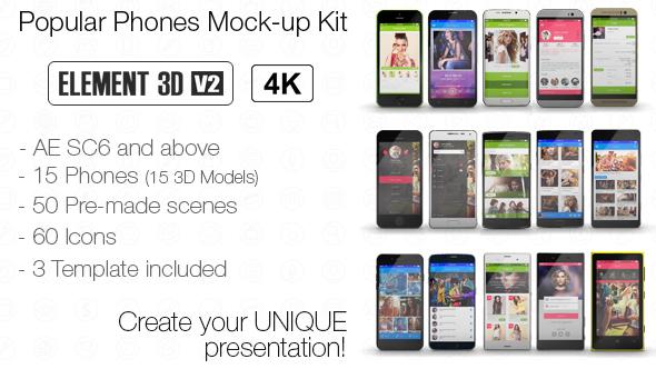 e3d苹果安卓手机模型延时全集,手机视频素材影视模板