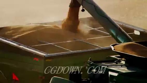 收割机收割小麦水稻
