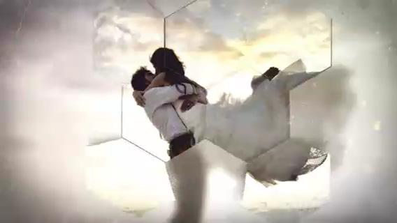 蜂巢六边形浪漫婚礼影像相册片头,婚礼,浪漫