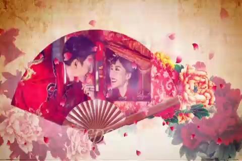 2017中国风水墨风格浪漫扇形婚礼片头,婚礼