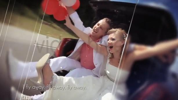 磨砂玻璃滑动时尚幻灯婚礼片头,滑动