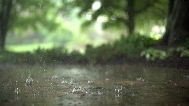 慢动作拍摄下雨雨滴艺术效果,下雨