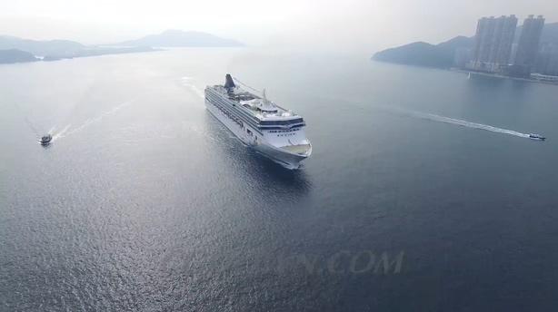 游轮,邮轮,香港,航拍,高清,视频素材