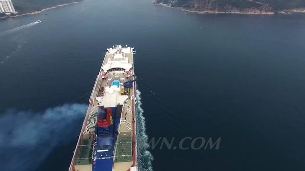 高清航拍香港邮轮游轮