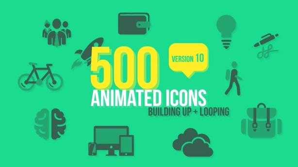 多达500多种各行各业动态图标Videohive 500 Animated Icons v10 5586340