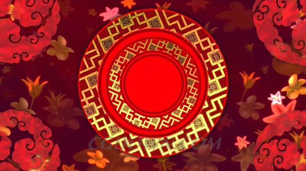 春节喜庆中国红色风格转圈背景视频