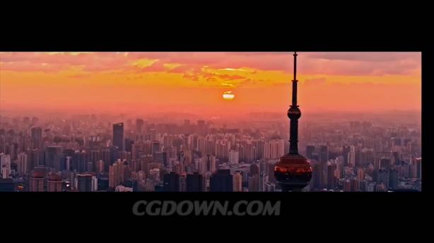 中国上海经济文化发展外滩航拍夜景高清视频素材,上海