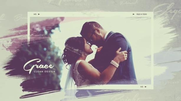 时尚婚礼幸福记忆水墨笔刷特效相册,笔刷