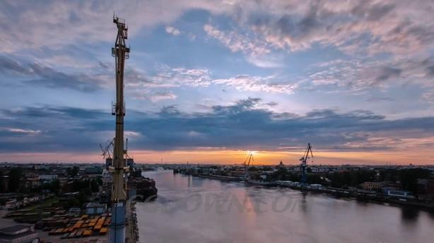 国家工业发展制造产业船舶业延时拍摄视频素材