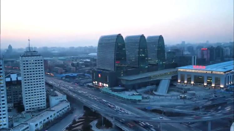 北京,城市发展,夜景,人群,高楼,车流视频素材