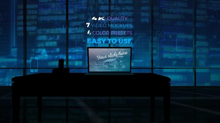 广告,笔记本,展现,4k,电脑,幻灯片,时尚,4K城市办公室笔记本电脑呈现您的广告视频素材
