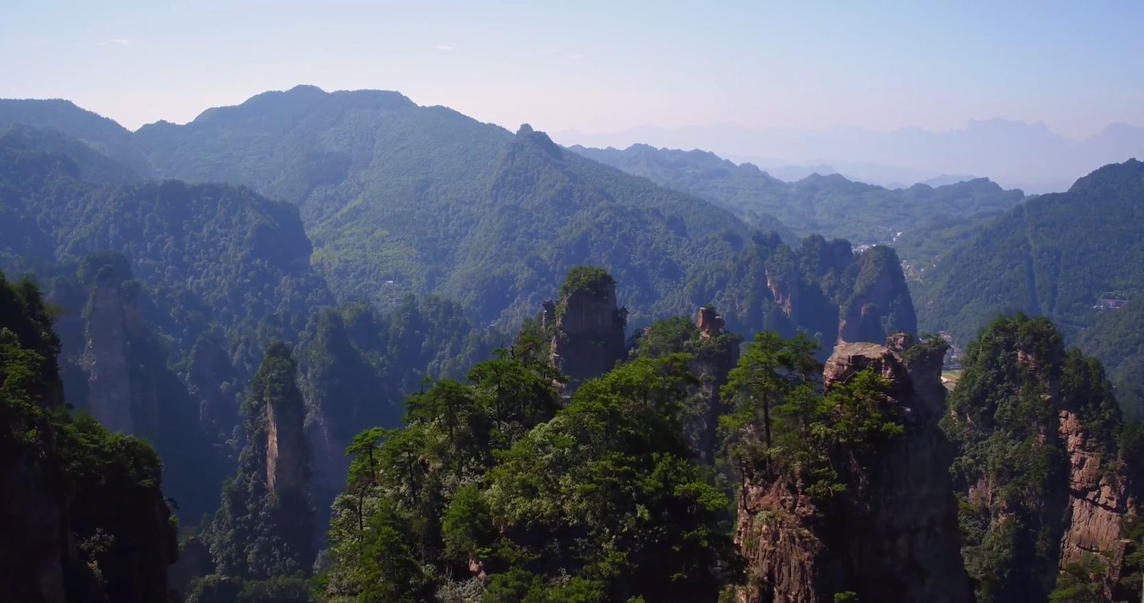 航拍优美的湖南张家界武陵源峰林高清视频素材