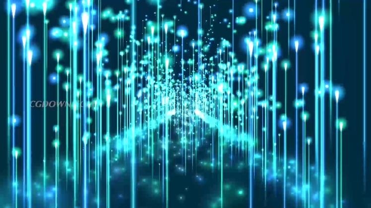 蓬勃蓝色向上发射线条粒子能量高清LED背景