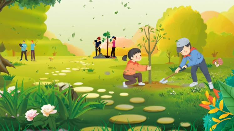 动漫校园儿童快乐植树节宣传视频素材