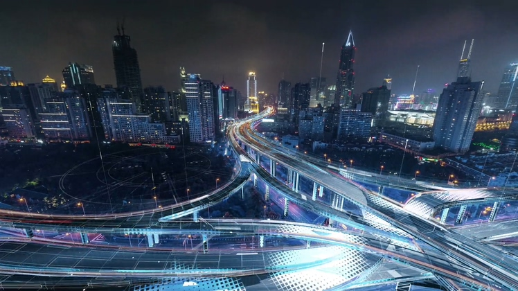 科技动感展示上海延安路高架桥经济城市高清视频素材
