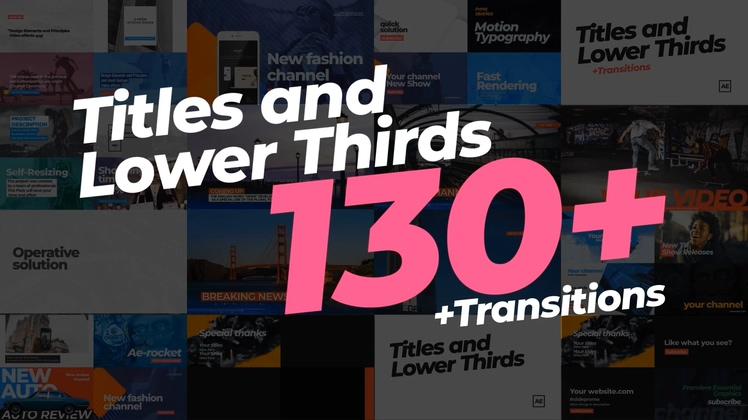 130组各种时尚媒体新闻字幕版式AE模板130 Titles Lower Thirds
