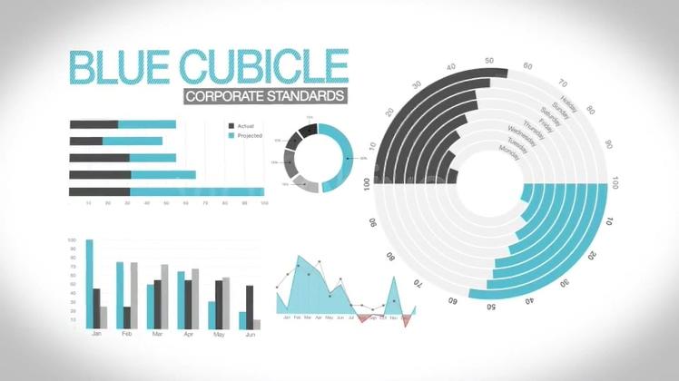 财务报表数据柱形图环形图饼状图AE模板