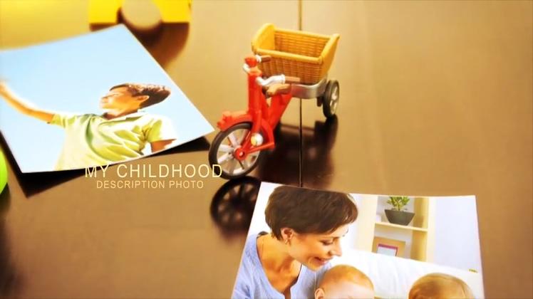 精致儿童实拍场景照片记忆成长AE模板相册