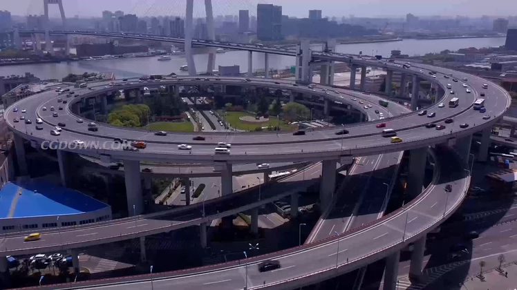 4K航拍城市立交桥视频素材