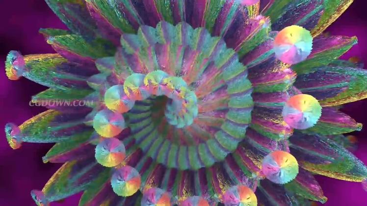 光彩夺目旋转绽放彩色万花筒LED视频素材