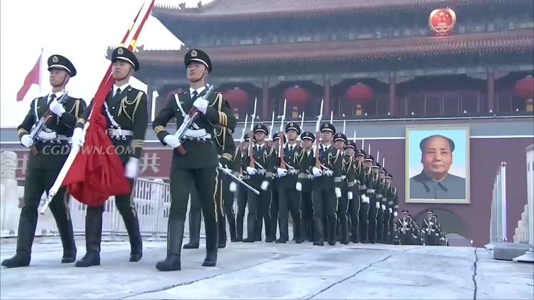 国旗,升旗,中国,北京,天安门,实拍北京天安门升国旗全程高清视频素材