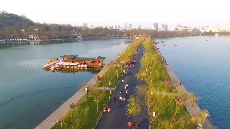 航拍杭州西湖美丽日景夜景高清视频素材