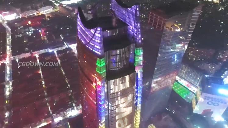航拍广东东莞城市面貌夜景高清视频素材