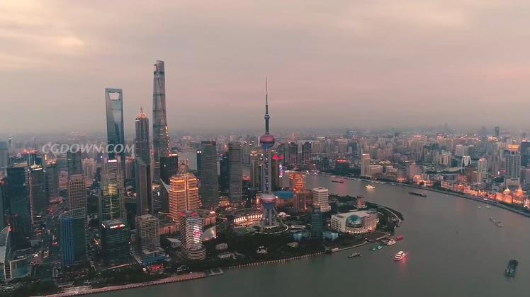 航拍上海城市外滩夜景高清视频素材