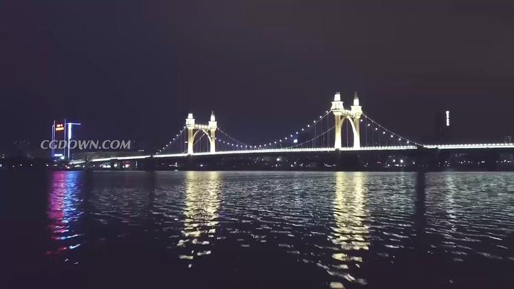 航拍中国珠海城市前山白石桥等夜景高情素材