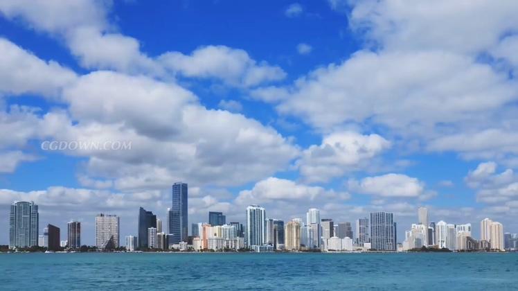 空镜实拍高清海天一线沿海蓝天白云视频素材