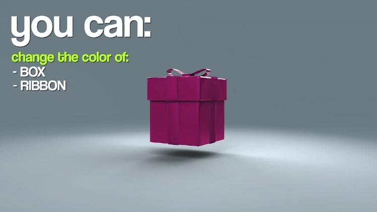 3d卡通礼物盒打开AE模板片头